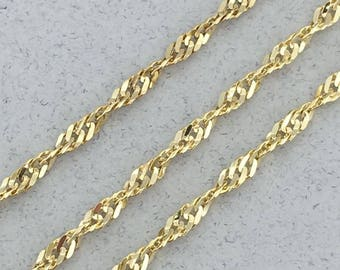 Shimmering Solid 10k Yellow Gold Twist Link 18 Inch Chain Necklace!