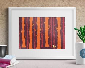 Fox in the Forest, Nursery Art, Animal Print, Wall Art Print