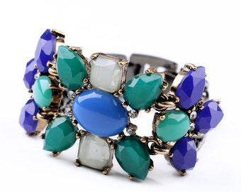 Statement Bracelet Blue and Green Chunky Bracelet