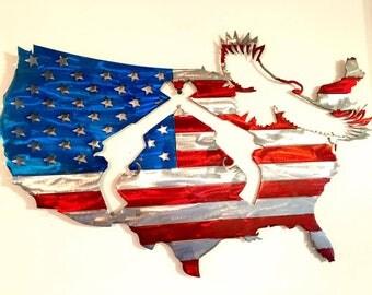 USA Flag Eagle & Revolver