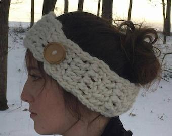 Ear Warmer Crocheted Chunky Headband Cream