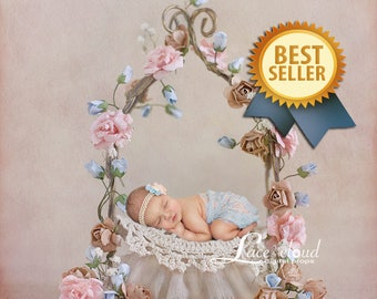 Newborn Digital backdrop background  newborn baby  girl  romantic flowers iron bed vintage retro prop  3 JPG files / 149