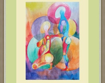 Abstract couple, Abstract figure painting, Abstract painting, Abstract watercolor, Man and woman watercolor, Watercolor harmonious