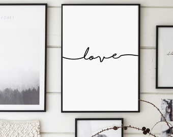 Love, Love Print, Love Poster, Love Script, Handwritten Print, Modern Typography, Minimalist, Scandinavian Wall Art, Affiche Scandinave