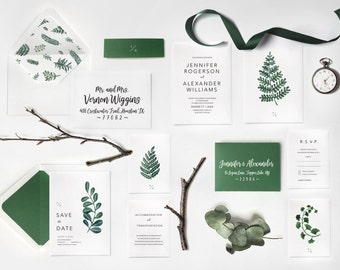 Sample   Fern Botanical Invitation Greenery Wedding Invitations Vintage  Florals Botanical Wedding Greenery Invitation