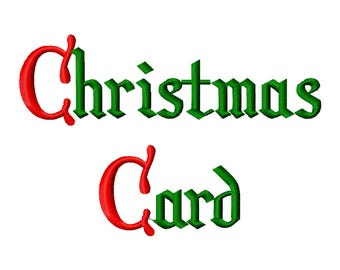 6 Sizes Christmas Card Font Embroidery Fonts BX Embroidery Fonts PES Alphabets Digital Machine Embroidery Instant Download