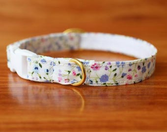 Oriental Cat Collar, Snow Flower Cat Collar, White Floral Cat Collar, Chocky Cat Collar, Chocky Cat Collar Breakaway,  Kitten Collar