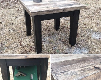 Reclaimed Oak Pallet End Table With Hidden Compartment   Free Shipping!