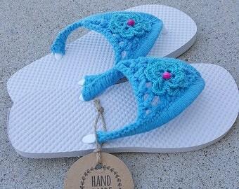 Crochet Flip Flops, Summer Sandals - Size US: Small 5-6