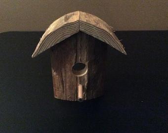 Reclaimed wooden bird house