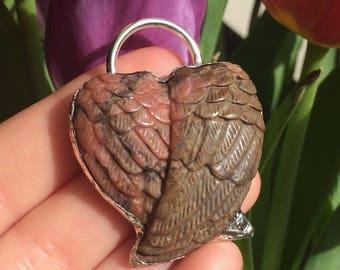 Rhodonite Crystal Angel Wings Silver Soldered Pendant