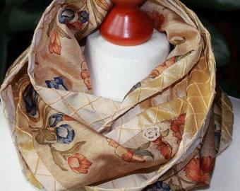 Loop, circle scarf, silk, Sari silk, flowers, infinity scarf