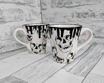 Skull mug, unique skulls mug, black and white, weird and wonderful, glazed item, gothic cup, set of 2 mugs, set of 4 mugs
