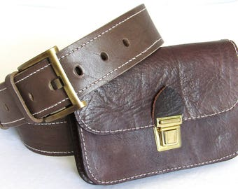 New, Leather belt with bag, Hand Tooled Leather Belt with bag, leather belt, With bag, Belt with Bag,