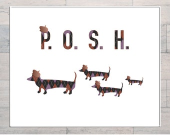 Dachshunds, Posh Dogs Wearing Clothes, Dog Lovers Art, Whimsical, Printable, Instant Download, Digital Download, Multi Sizes, Digital Art