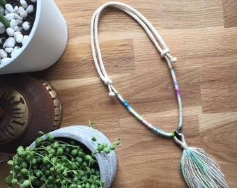 cotton rope necklace handmade tassel