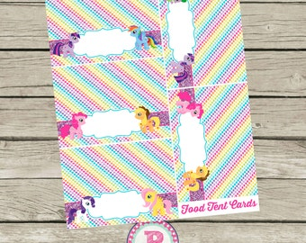 My Little Pony Birthday Party Fold over Food Tent Cards to Label Party Foods Aqua Pink Rainbows Clouds Magical Instant Download Labels
