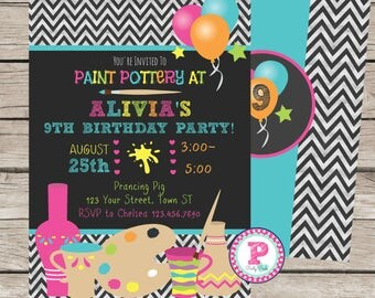 Painting Pottery Birthday Party Invitation Chalkboard Neon Chevron Front Back Option Aqua Pink Neon Yellow Balloons 5x7