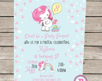 Don't be a Party Pooper Unicorn and Rainbows Birthday Party Invitation Front Back Pink Blue Birthday Digital File Magical Celebration Pastel