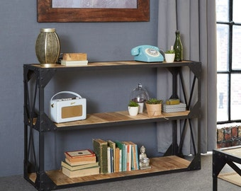 Ascot wide console/bookcase - Reclaimed metal and wood - Handmade