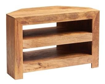 Toko light mango corner TV stand/cabinet/unit - Solid hardwood - Matt finish