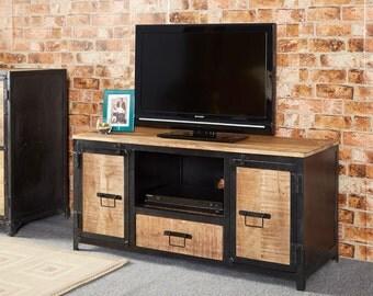 Cosmo 2 door 1 drawer vintage tv unit/cabinet - Reclaimed metal & wood