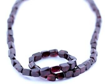 Garnet Beads 8 x 5mm Cube Smooth Round - 15 Inch Strand