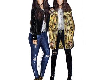 Custom Fashion illustration - A4 Print + Digital Download/ unframed / Gift /  Birthday / Present / Personalised Gift / Fashionista