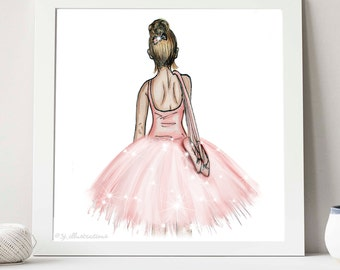 Pink Ballerina Illustration by Sjillustration