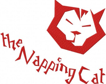 Napping Cat Font Embroidery Font Set Instant Digital download