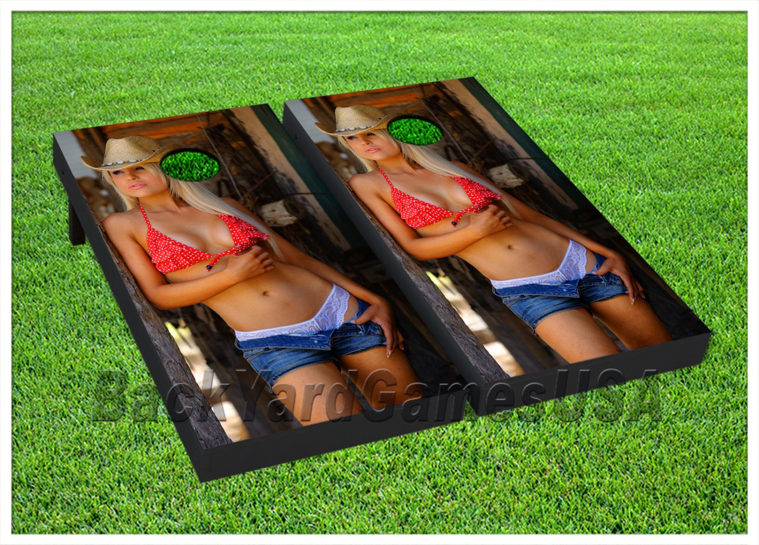 Vinyl Wraps Cornhole Boards Decals Sexy Cowgirl Lady Bag Toss