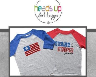 4th of July Twin coordinating Shirts Raglan - July 4 Twin Boy/Girl Shirts - Fourth of July Sibling shirt - July 4th Tees Kids - Patriotic