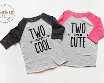 Twin 2nd Birthday Shirts Boy/Girl - Second Bday Tees Raglan Twins - Two Cute/Two Cool Twins Shirts - Toddler Twin Two Birthday Trendy - Gift