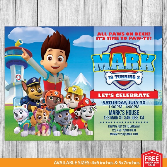 Paw patrol invitation paw patrol birthday paw patrol invite for Printable paw patrol invitations