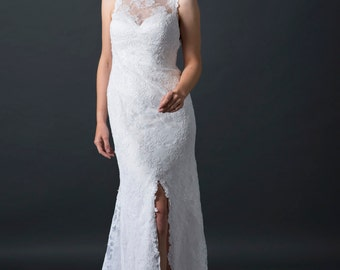 Lace wedding dress, modern bridal gown