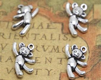 15pcs hippie bear Charms silver tone dancing bear charm pendants 10x20mm ASD1873