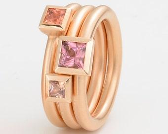 SAPPHIRE cocktail ring orange, princess cut kl., 18 kt pink GOLD, engagement, wedding
