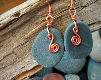 Rock Earrings with Copper Spiral