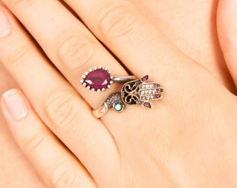 Hand of Fatima Hamsa Ring Red Green, Authentic hamesh hand, Rose Gold, Sterling Silver Ring for Women, Valentines Day Gift For Her, ZB1031