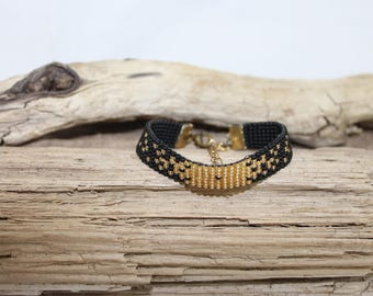 Bracelet, cuff of glass beads Miyuki 11/0