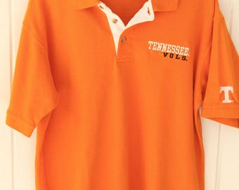 90's Vintage TENNESSEE VOLS Orange Polo Shirt University of Tennessee Knoxville sec Size Large