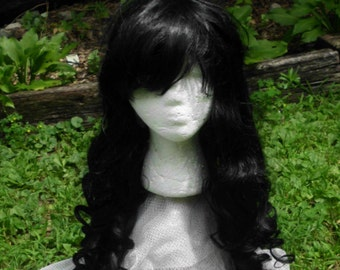Black Wig, lolita wig, Long curly black wig, Cosplay, Long Curly Wig, side swept Bangs, side swept bang, heat safe, curly black wig cosplay,