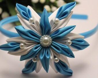 Handmade, kanzashi, plastic headband, snowflake, blue, white