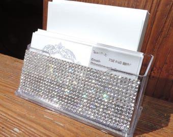 Rhinestone Business Card/ Post it Holder Office Supply