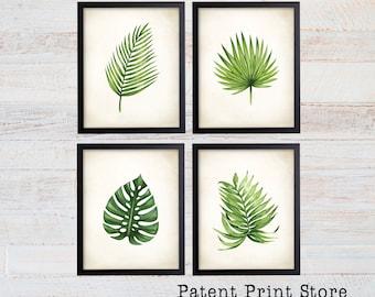Watercolor Tropical Leaf Prints. Wall Art. Botanical Prints. Beach House Decor. Beach House Art. Botanical Poster. Botanical Wall Art. 156
