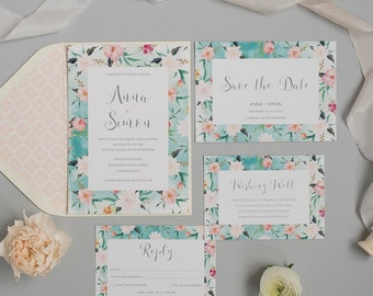 Floral Watercolour Wedding Invitation and RSVP - Seaside Summer Invitation - Modern Wedding Stationery