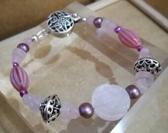 Rose Quartz and Silver bead beaded bracelet, with Rose Quartz carved rose bead, Handmade, Love and Friendship