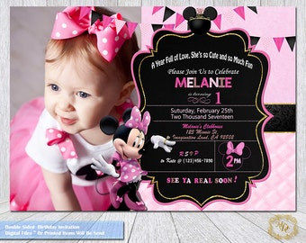 Minnie Mouse Birthday Invitations.Minnie Mouse Photo Invitation.Party Invitations.Minnie Mouse Printable.Party Supplies.Pink Minnie Mouse.