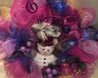 Purple and Blue Snowman Wreath