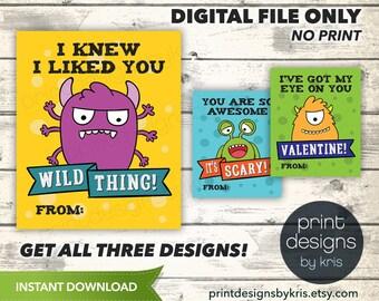 Printable Monster Valentines Day Card - Boy Valentine - School Valentines Day Card - Monster Valentines - Preschool Valentines